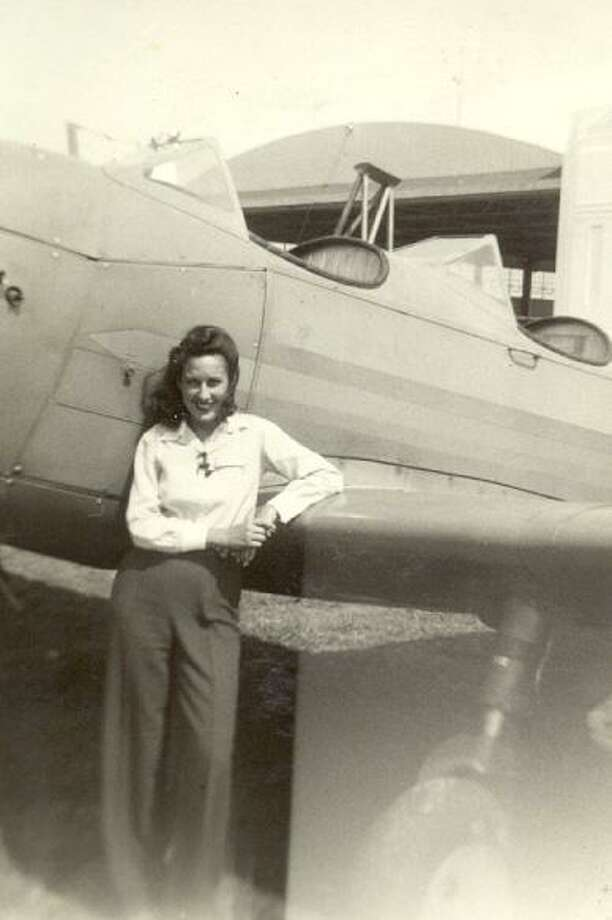 Celeste Graves at Municipal Airport (now Hobby Airport) in the 1940s. Photo: Photo Courtesy Celeste Graves