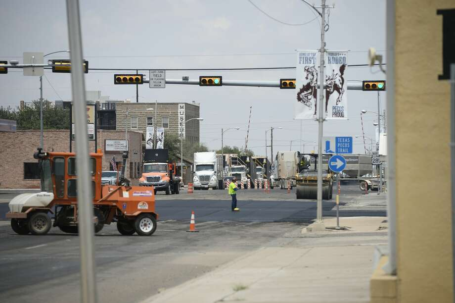 Road construction and oilfield traffic in Pecos July 31, 2018. James Durbin/Reporter-Telegram Photo: James Durbin