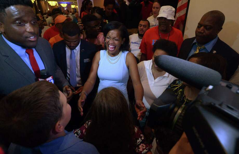 Jahana Hayes, celebrates her Democratic primary win for the 5th Congressional District on Tuesday night in Waterbury. Photo: Erik Trautmann / Hearst Connecticut Media / Norwalk Hour