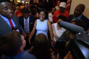 Jahana Hayes, celebrates her Democratic primary win for the 5th Congressional District on Tuesday night in Waterbury.