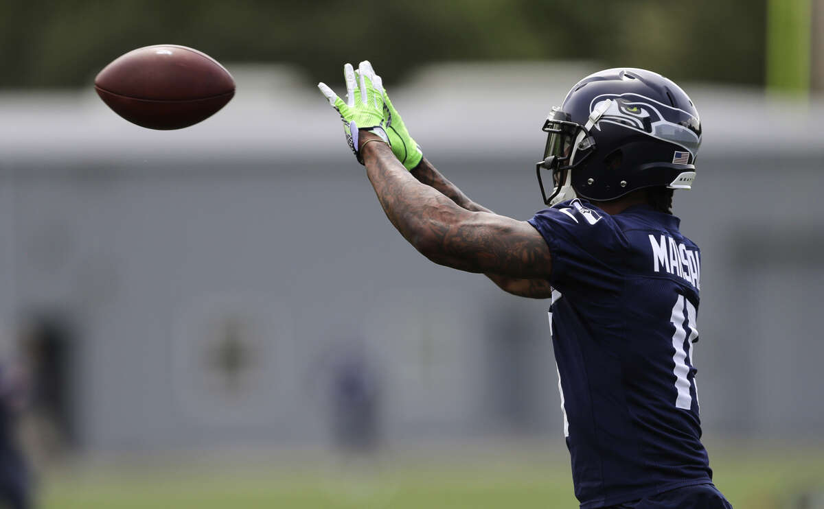 TARGETS FOR BRANDON MARSHALL  The six-time Pro Bowler has impressed the Seahawks as his reps in practice have gone up gradually. He saw more looks with the first-team offense this past week in team scrimmaging. And as Wilson mentioned, he had his best practice to date Thursday -- showcasing the red-zone production that he was brought in for.  Marshall hauled in a back-shoulder throw from Wilson in the left corner of the end zone, boxing out cornerback Dontae Johnson to keep his feet in-bounds for the score.