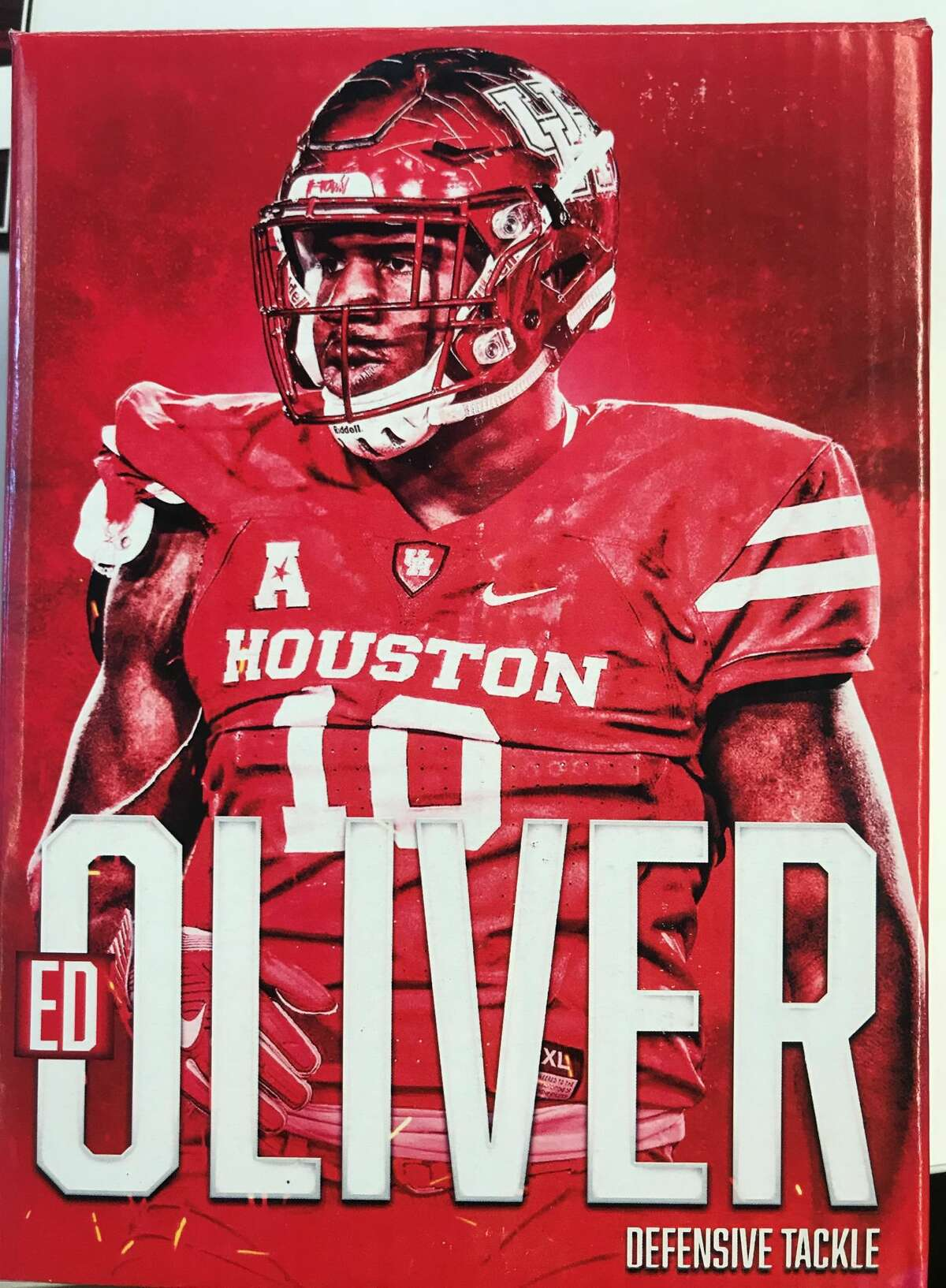 A look at the box that was sent out with the Ed Oliver bobblehead that University of Houston mailed to college football media members.