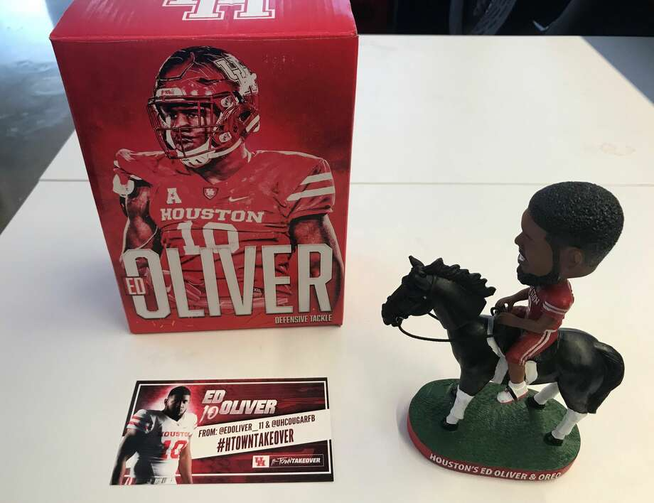 PHOTOS: A look inside Ed Oliver's Pro Day at UH A look at the Ed Oliver bobblehead that University of Houston mailed to college football media members. Photo: Matt Young