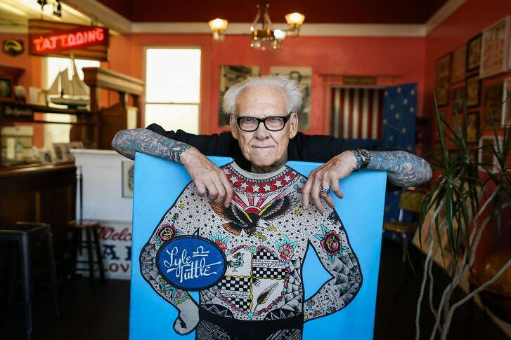 Lyle Tuttle poses for a portrait at his tattoo shop in San Francisco, California, on Tuesday, Aug. 14, 2018.