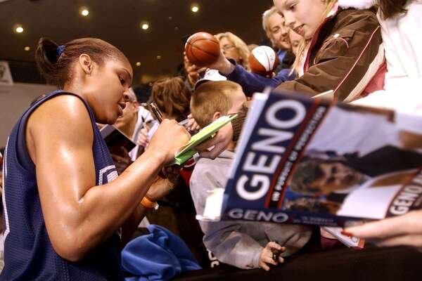 UConn forward Maya Moore signs autographs following practice at Bridgeport Arena at Harbor Yard in 2008.