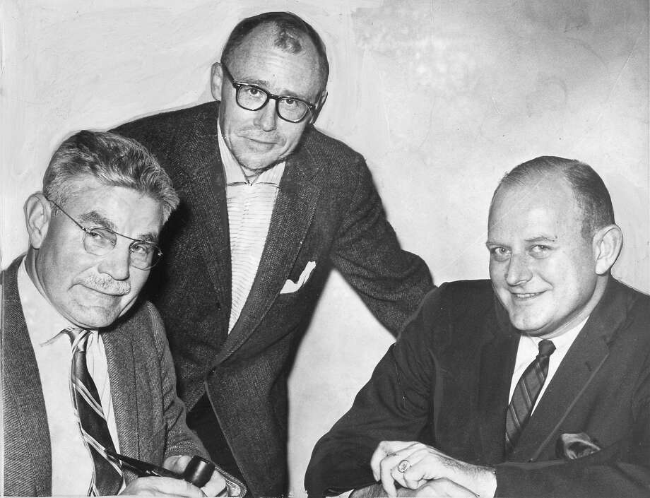 Edward Howden (center), head of the state Fair Employment Practices Com mission, is seen with Marshall Bragdon (left) and Frederick B. Routh in 1961. Photo: Joe Rosenthal / The Chronicle 1961