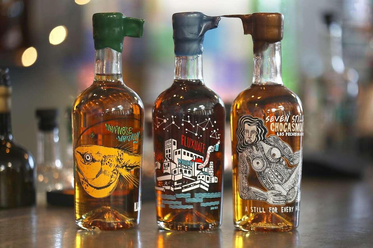 Seven Stills - Brewery & Distillery whiskey bottles seen on Thursday, Aug. 16, 2018 in San Francisco, Calif.