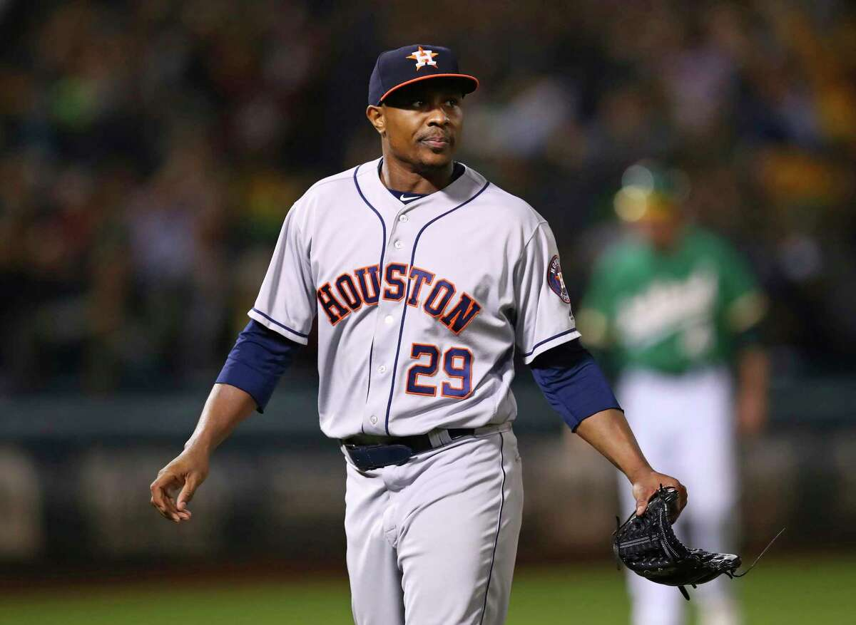 Houston Astros' Tony Sipp walks off the field after allowing the game winning home run to Oakland Athletics' Matt Olson in the tenth inning of a baseball game Friday, Aug. 17, 2018, in Oakland, Calif. (AP Photo/Ben Margot)