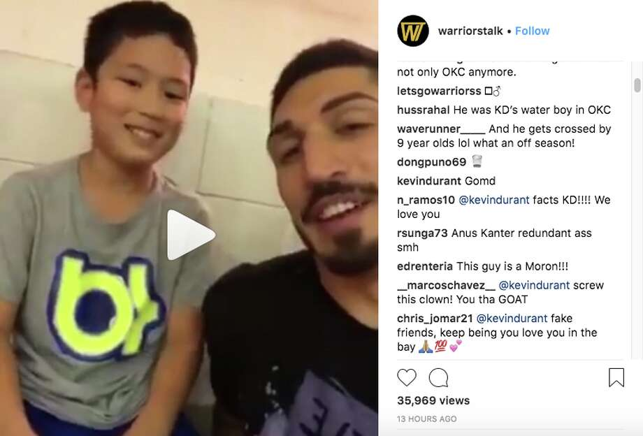 """Kevin Durant responds after former teammate Enes Kanter tells a kid to burn a shirt with Kevin Durant's """"KD"""" logo on it. Photo: Instagram"""