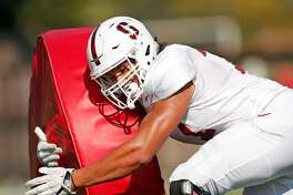 Stanford football's Thunder Keck (77) during practice in Stanford, Calif. on Thursday, August 16, 2018.