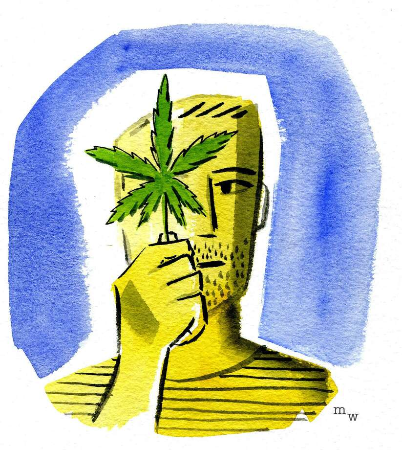 This artwork by Mark Weber relates to ballot initiatives regarding the legal status of marijuana possession and use. Photo: Mark Weber
