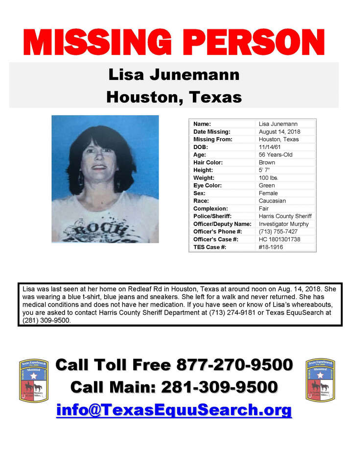 A 56-year-old woman has been missing since Tuesday, when she left her north Houston home for a walk. 