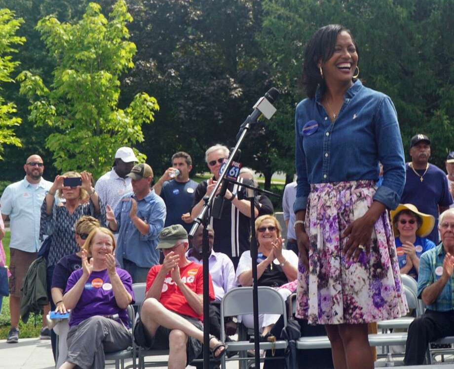 Jahana Hayes, Democratic nominee to represent Connecticut's 5th Congressional District, spoke at a unity rally at Minuteman Park in Hartford, Conn. on Saturday August 18, 2018, with other Democratic nominees for state and federal office. Photo: Emilie Munson / Hearst Connecticut Media / Connecticut Post