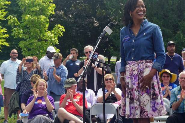 Jahana Hayes, Democratic nominee to represent Connecticut's 5th Congressional District, spoke at a unity rally at Minuteman Park in Hartford, Conn. on Saturday August 18, 2018, with other Democratic nominees for state and federal office.
