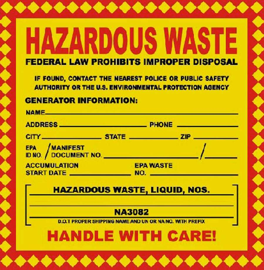 Town residents will be able to drop off hazardous waste from their homes at Veterans Park, 909 Reef Road in Fairfield, Conn., from 9 a.m. to 2 p.m. on Aug. 19, 2018. Photo: Contributed Photo / Contributed Photo / Connecticut Post Contributed