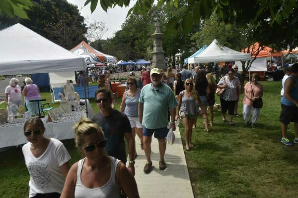 Milford, Connecticut -Saturday, August 19, 2018: The 44th Annual Oyster Festival in Milford Saturday. The Milford Oyster Festival has the largest variety of Oysters at any festival in the USA. This year, the festival has about 40,000 oyster with 21 varieties from 8 states on the East Coast.