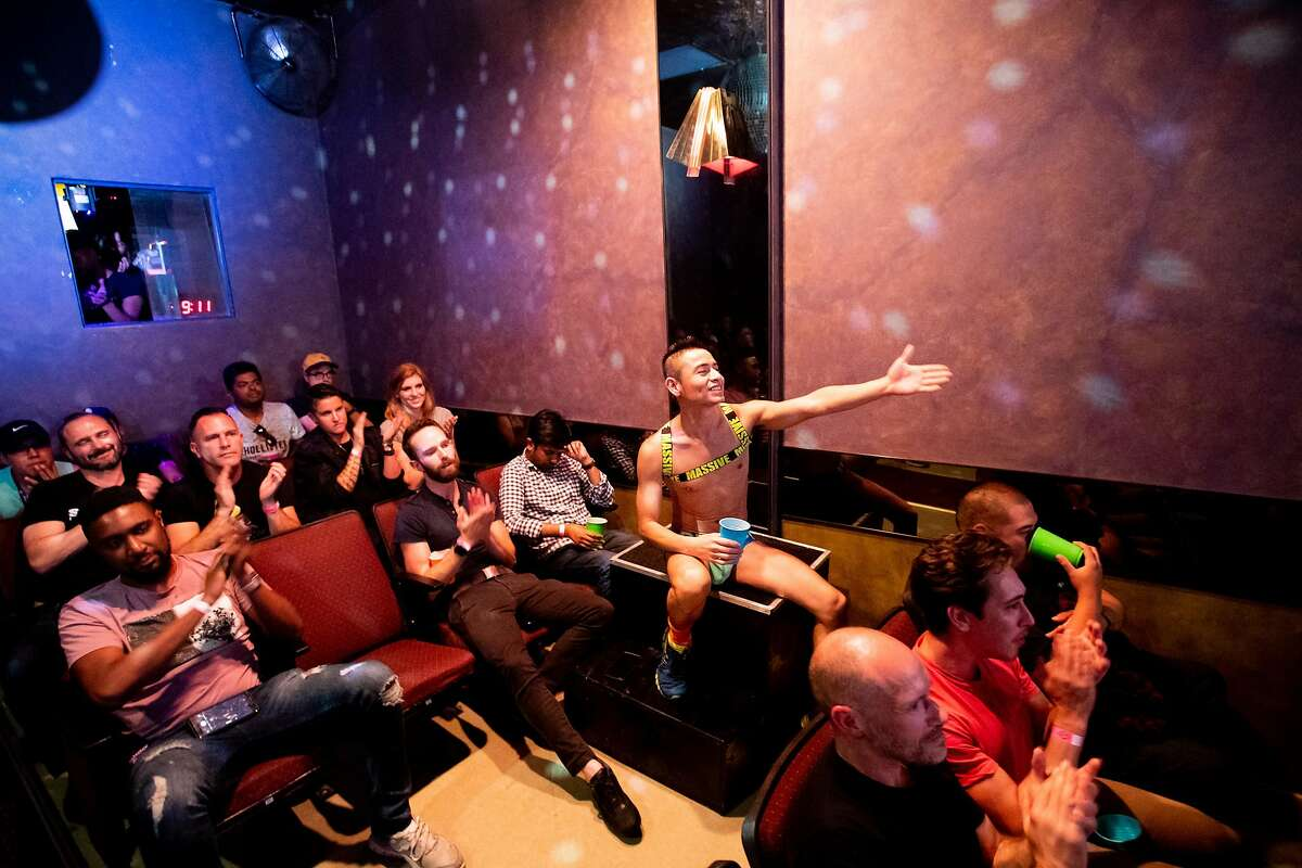 Adult performer Andres and audience members applaud as actors finish filming a sex scene at the Nob Hill Theatre on Friday, Aug. 17, 2018, in San Francisco.