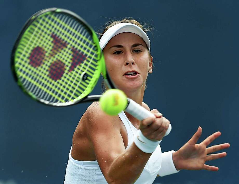 Belinda Bencic returns a volley against Whitney Osuigwe in a qualifying match at the Connecticut Open at the Connecticut Tennis Center at Yale in New Haven on Saturday. Photo: Catherine Avalone / Hearst Connecticut Media / New Haven RegisterThe Middletown Press