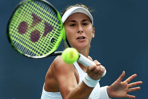 Belinda Bencic returns a volley against Whitney Osuigwe in a qualifying match at the Connecticut Open at the Connecticut Tennis Center at Yale in New Haven on Saturday.