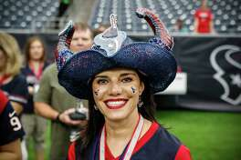 Houston Texans fans watch warm ups before an NFL preseason football game between the Texans and the San Francisco 49ers at NRG Stadium on Saturday, Aug. 18, 2018, in Houston.