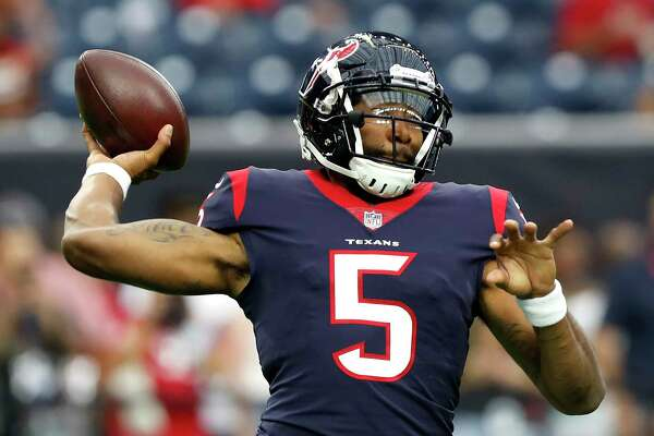 Houston Texans quarterback Joe Webb (5) warms up before an NFL preseason football game against the San Francisco 49ers at NRG Stadium on Saturday, Aug. 18, 2018, in Houston.
