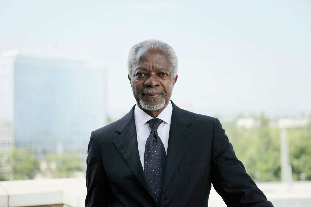 FILE -- Kofi Annan, the former United Nations secretary general, in Geneva, Aug. 23, 2012. Annan, a Ghanaian diplomat who won the Nobel Peace Prize as UN secretary general, projecting himself and his organization as the world?'s conscience despite bloody debacles that tarnished his record as a peacekeeper, died on Aug. 18, 2018. He was 80. (Christoph Bangert/The New York Times) -- NO SALES --
