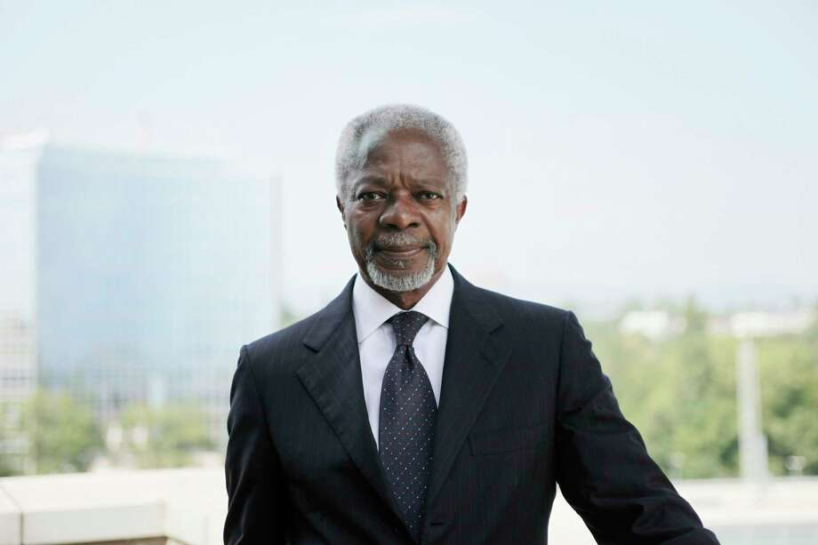 FILE -- Kofi Annan, the former United Nations secretary general, in Geneva, Aug. 23, 2012. Annan, a Ghanaian diplomat who won the Nobel Peace Prize as UN secretary general, projecting himself and his organization as the world's conscience despite bloody debacles that tarnished his record as a peacekeeper, died on Aug. 18, 2018. He was 80. (Christoph Bangert/The New York Times) -- NO SALES -- Photo: CHRISTOPH BANGERT / NYTNS