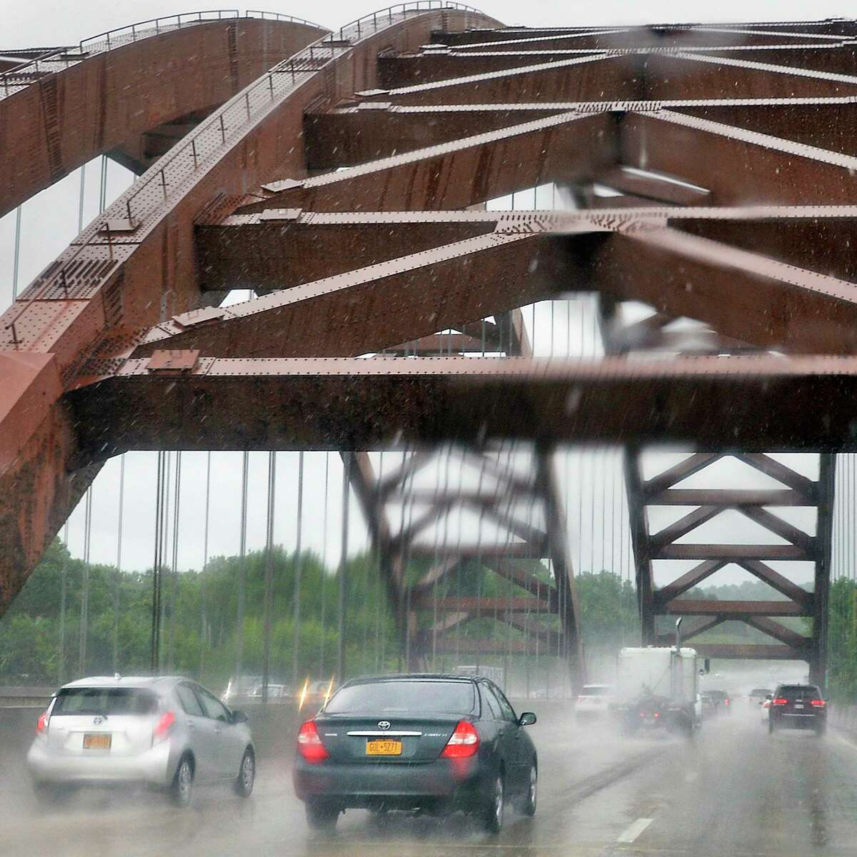 A rainy drive south across the Thaddeus Kosciusko Bridge, commonly referred to as the Twin Bridges, or just