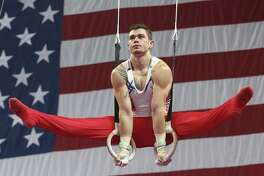 Colin Van Wicklen of Houston performs his routine on the rings during the USA Gymnastics national championships Saturday.