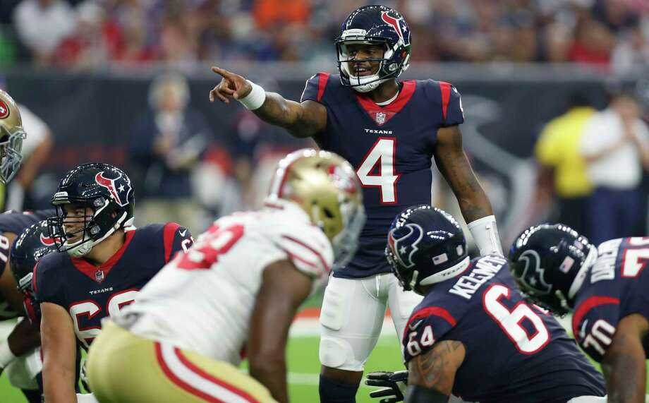 Houston Texans quarterback Deshaun Watson (4) calls out a play at the line against the San Francisco 49ers during the first quarter of an NFL preseason football game at NRG Stadium on Saturday, Aug. 18, 2018, in Houston. Photo: Brett Coomer, Staff Photographer / © 2018 Houston Chronicle