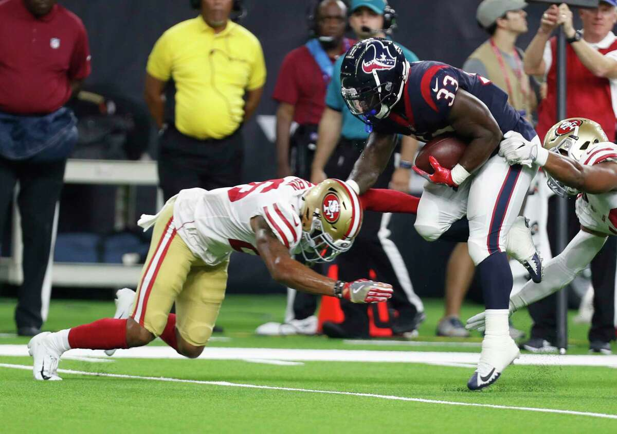 Houston Texans running back Troymaine Pope (33) runs the ball during the third quarter of an NFL preseason football game at NRG Stadium on Saturday, Aug. 18, 2018, in Houston.