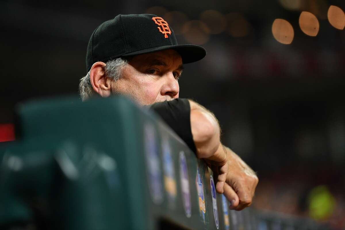 CINCINNATI, OH - AUGUST 18: Manager Bruce Bochy #15 of the San Francisco Giants watches his team play against the Cincinnati Reds in the sixth inning at Great American Ball Park on August 18, 2018 in Cincinnati, Ohio. Cincinnati defeated San Francisco 7-1. (Photo by Jamie Sabau/Getty Images)