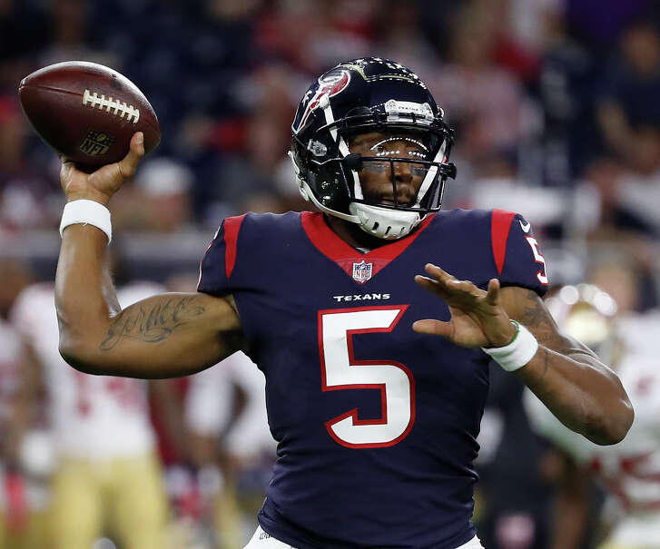 Houston Texans quarterback Joe Webb (5) throws the ball during the third quarter of an NFL preseason game at NRG Stadium, Saturday, August 18, 2018, in Houston.