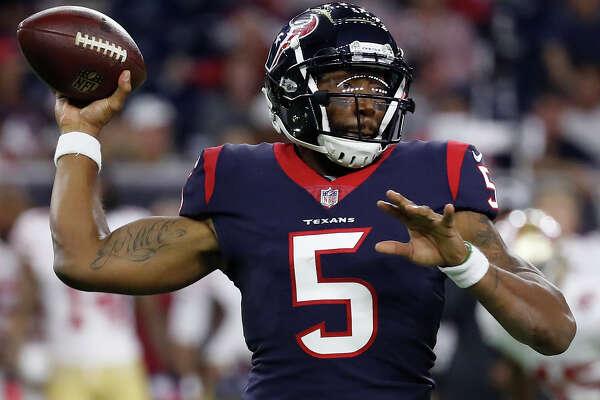Houston Texans quarterback Joe Webb (5) throws the ball during the third quarter of an NFL preseason game at NRG Stadium, Saturday, August 18, 2018, in Houston.