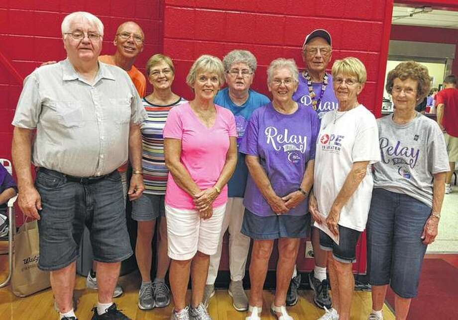 Members of Central Christian Church's Relay for Life team took second-place honors in team fundraising during the recent American Cancer Society event at Jacksonville High School. Team member Sandra Pekarek took third-place honors in individual fundraising. Team members are Roger Moss (from left), Terry and Sharon Maggart, Judy Vinyard, Pekarek, Phyllis Sherren, Darrell Wynn, Doris Heady and Nancy Wynn. Team members not pictured are Patty Kircher and Shirley Walden. Photo:       Photo Provided