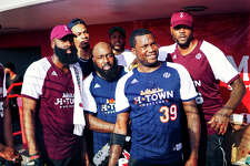James Harden, Gerald Green, Trae Tha Truth, Meek Mill, and Josh Smith pose for a photo prior to the celebrity softball game at the University of Houston on day two of the 2018 JH-Town Weekend. (Photo by Marco Torres/@MarcoFromHouston)