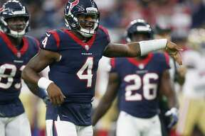 HOUSTON, TX - AUGUST 18: Deshaun Watson #4 of the Houston Texans calls a play as he comes to the line of scrimmage against the San Francisco 49ers during a preseason game at NRG Stadium on August 18, 2018 in Houston, Texas. (Photo by Bob Levey/Getty Images)
