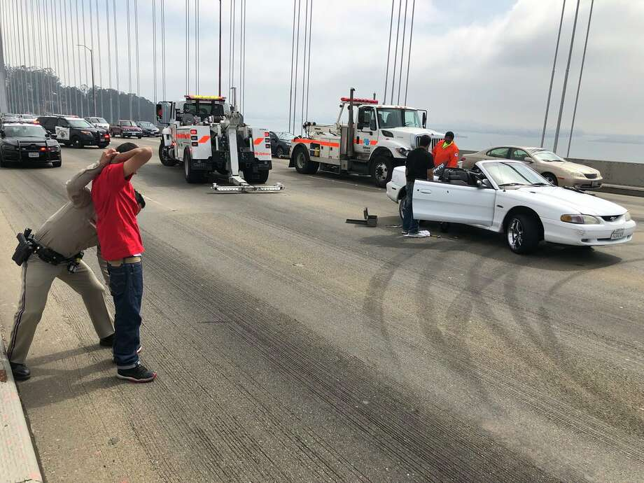 A driver was arrested after a sideshow broke out Sunday morning on the Bay Bridge. Photo: Courtesy California Highway Patrol