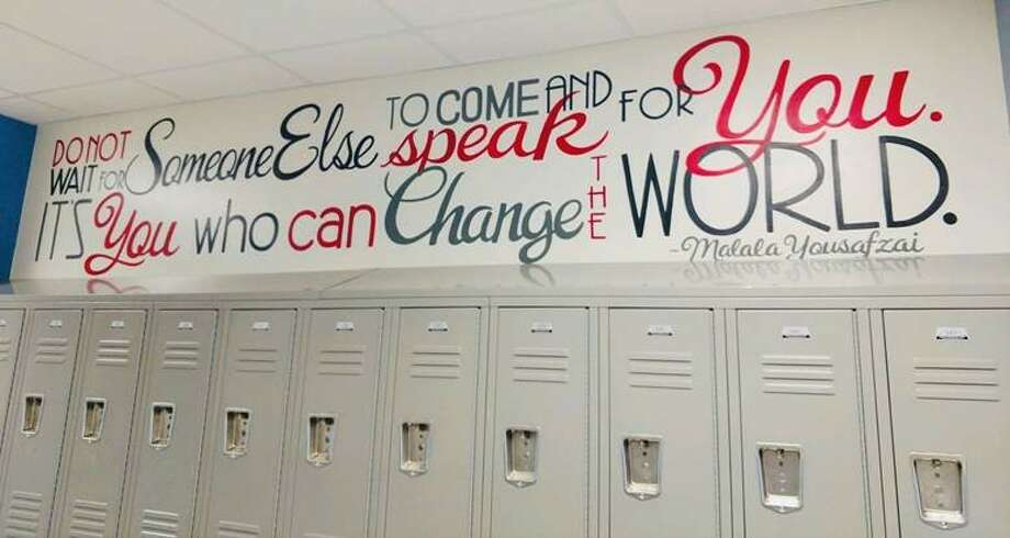 A new quote was painted on the wall this weekend at Gregory Lincoln Education Center. Photo: Houston ISD