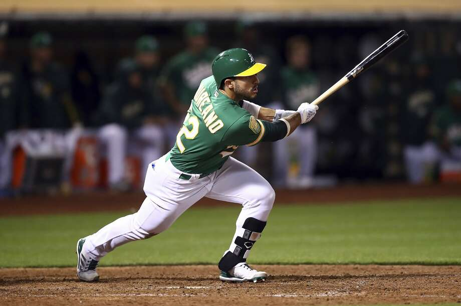 Oakland Athletics' Ramon Laureano swings for the game winning hit against the Detroit Tigers in the 13th inning of a baseball game Friday, Aug. 3, 2018, in Oakland, Calif. (AP Photo/Ben Margot) Photo: Ben Margot / Associated Press