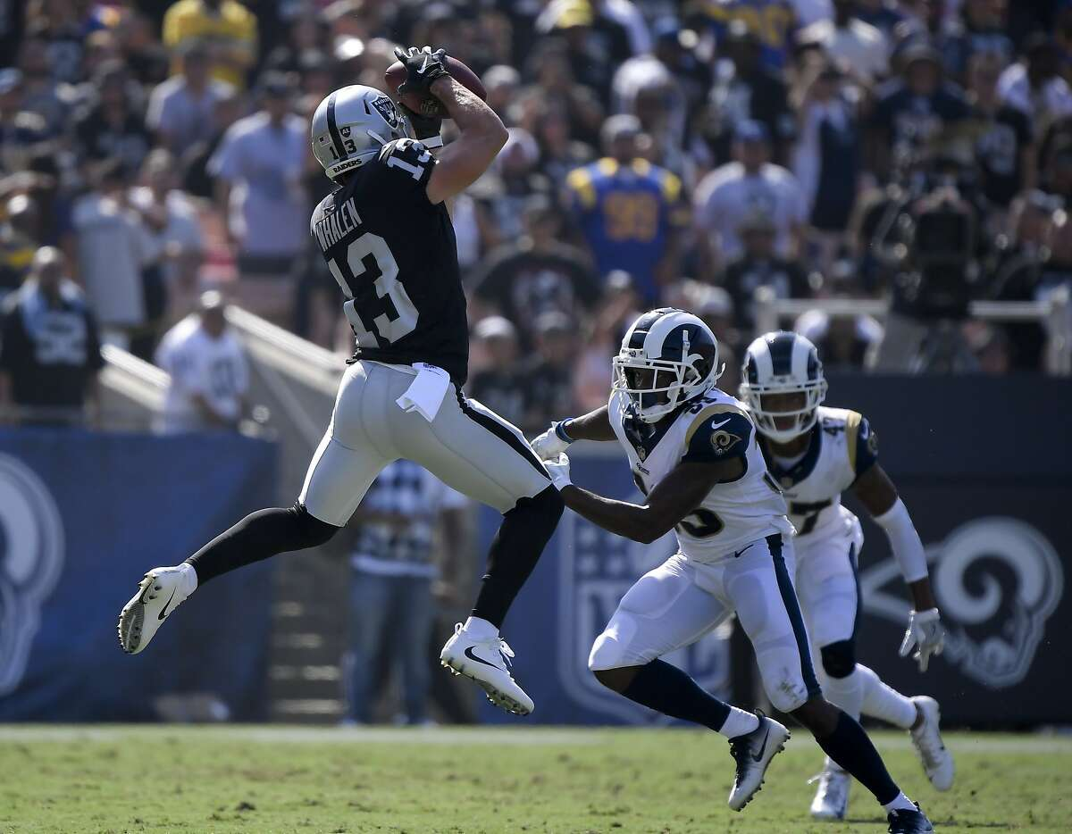 Oakland Raiders wide receiver Griff Whalen catches a pass against the Oakland Raiders during the second half in an NFL preseason football game Saturday, Aug. 18, 2018, in Los Angeles. (AP Photo/Mark J. Terrill)