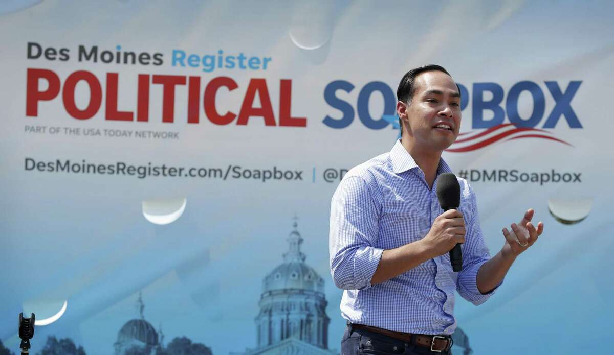 Former Housing and Urban Development Secretary Julian Castro speaks at the Des Moines Register Soapbox during a visit to the Iowa State Fair, Friday, Aug. 17, 2018, in Des Moines, Iowa. (AP Photo/Charlie Neibergall)