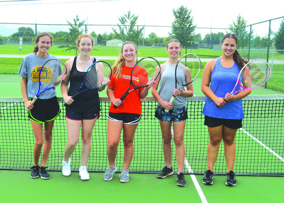 Seniors on the Metro-East Lutheran girls' tennis team are, left to right, Amber Keplar, Tori Roderick, Maycen O'Leary, Anica Broekemeier and Madi Kaffer. Photo: Scott Marion