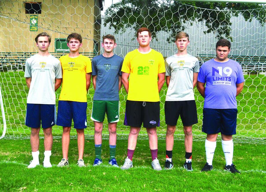 Seniors on the MELHS boys' soccer team are, from left, Christopher Brown, Logan McDaniel, Noah Landers, Nolan Gutjahr, Brent Woolsey and Andrew Masters. Photo: Scott Marion