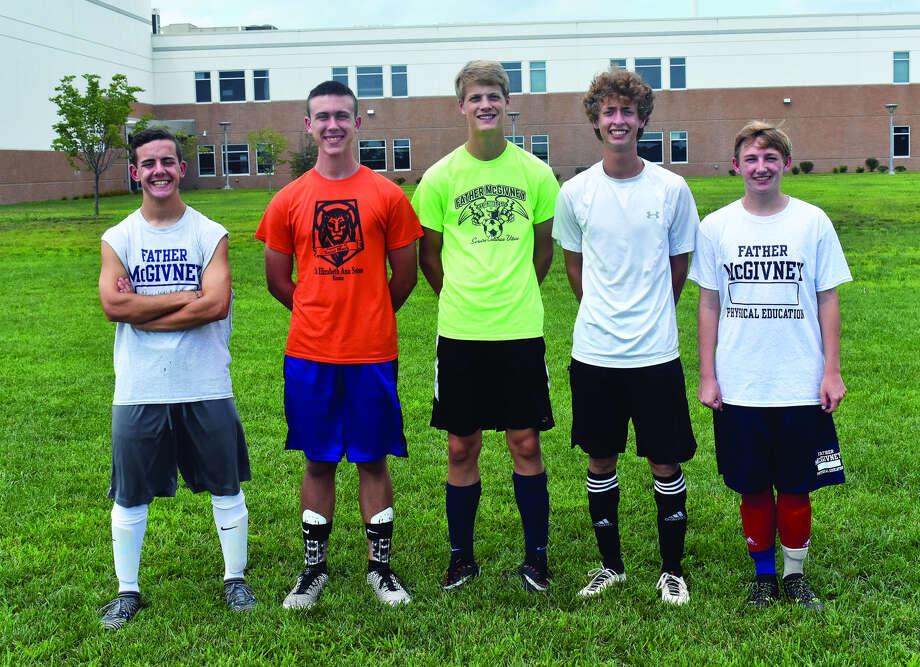 Senior members of FMCHS boys' soccer team from left are Aaron Boulanger, Michael Landell, Nate Dammerich, DJ Villhard and Nick McLaughlin. Photo: Matthew Kamp