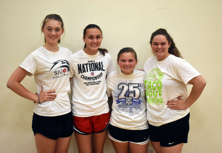 Senior members of FMCHS volleyball team from left are Emma Deist, Claire McKee, Rebecca Raymer and Caityln Pendall. Photo: Matthew Kamp