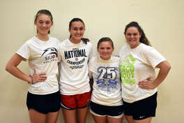 Senior members of FMCHS volleyball team from left are Emma Deist, Claire McKee, Rebecca Raymer and Caityln Pendall.