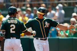 OAKLAND, CA - AUGUST 19:  Matt Chapman #26 of the Oakland Athletics is congratulated by Khris Davis #2 after hitting a home run against the Houston Astros during the first inning at the Oakland Coliseum on August 19, 2018 in Oakland, California. (Photo by Jason O. Watson/Getty Images)
