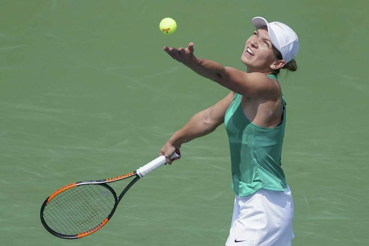 Simona Halep serves during the finals at the Western & Southern Open tournament Sunday in Ohio.
