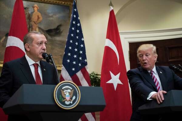 President Donald Trump and Turkish President Recep Tayyip Erdogan make statements in the Roosevelt Room of the White House in Washington in 2017.